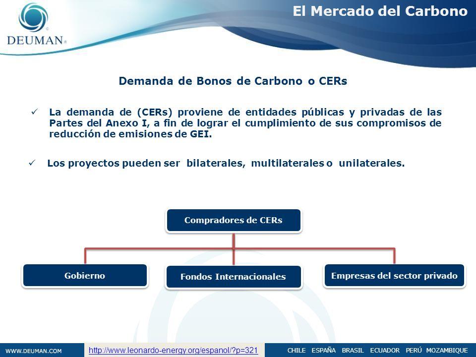 CHILE ESPAÑA BRASIL ECUADOR PERÚ MOZAMBIQUE Demanda de Bonos de Carbono o CERs La demanda de (CERs) proviene de entidades públicas y privadas de las P