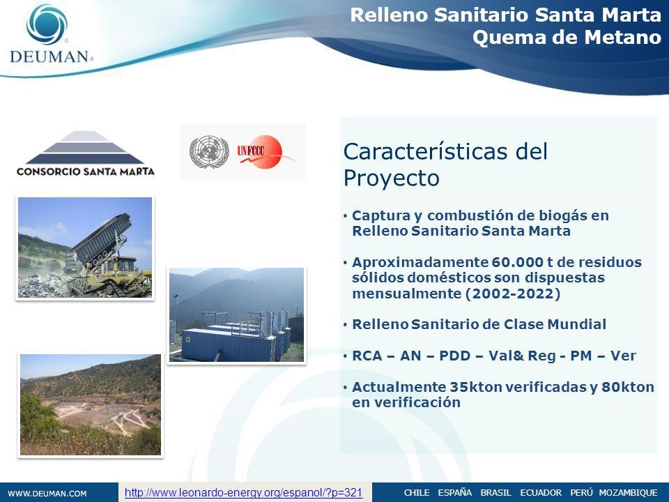 CHILE ESPAÑA BRASIL ECUADOR PERÚ MOZAMBIQUE Captura y combustión de biogás en Relleno Sanitario Santa Marta Aproximadamente 60.000 t de residuos sólid