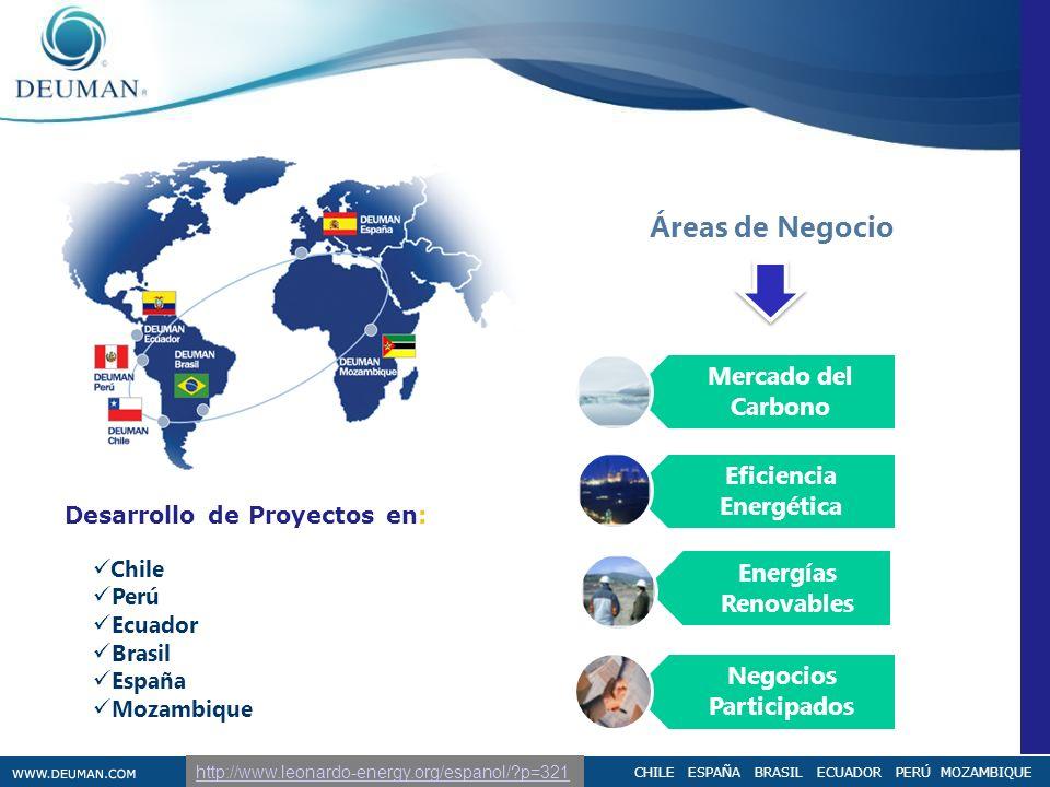CHILE ESPAÑA BRASIL ECUADOR PERÚ MOZAMBIQUE Áreas de Negocio Chile Perú Ecuador Brasil España Mozambique Desarrollo de Proyectos en: Mercado del Carbo