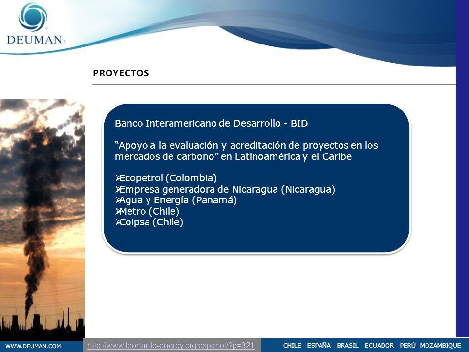 CHILE ESPAÑA BRASIL ECUADOR PERÚ MOZAMBIQUE PROYECTOS Banco Interamericano de Desarrollo - BID Apoyo a la evaluación y acreditación de proyectos en lo