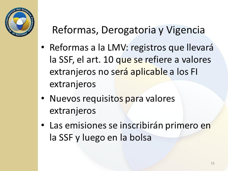 Reformas a la LMV: registros que llevará la SSF, el art. 10 que se refiere a valores extranjeros no será aplicable a los FI extranjeros Nuevos requisi