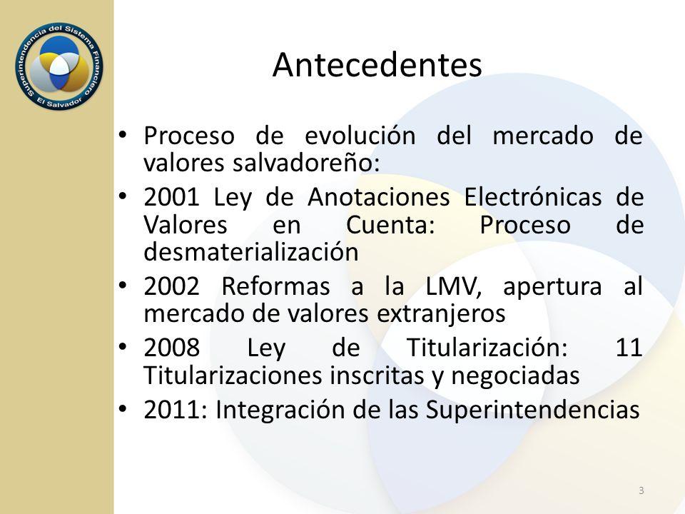 Antecedentes Proceso de evolución del mercado de valores salvadoreño: 2001 Ley de Anotaciones Electrónicas de Valores en Cuenta: Proceso de desmateria