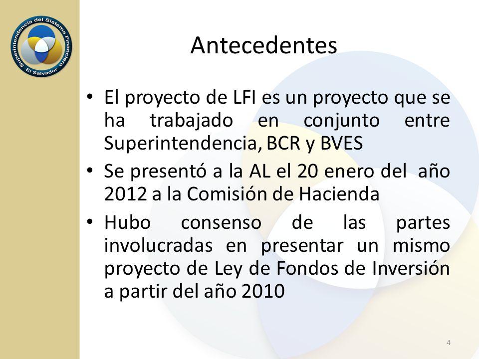 Antecedentes El proyecto de LFI es un proyecto que se ha trabajado en conjunto entre Superintendencia, BCR y BVES Se presentó a la AL el 20 enero del