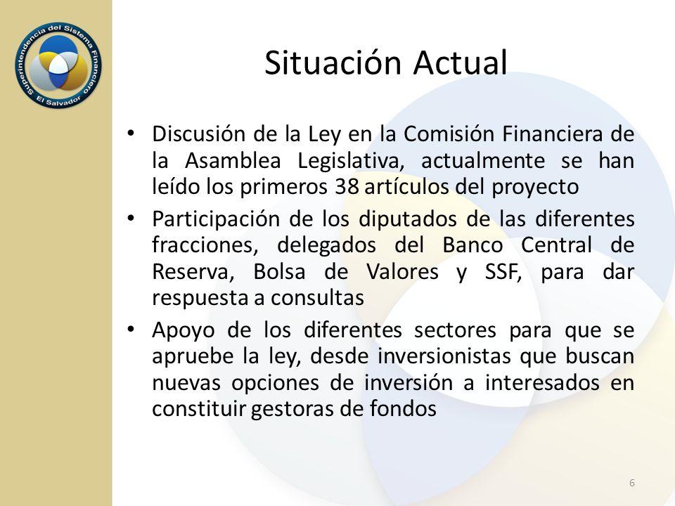 Situación Actual Discusión de la Ley en la Comisión Financiera de la Asamblea Legislativa, actualmente se han leído los primeros 38 artículos del proy