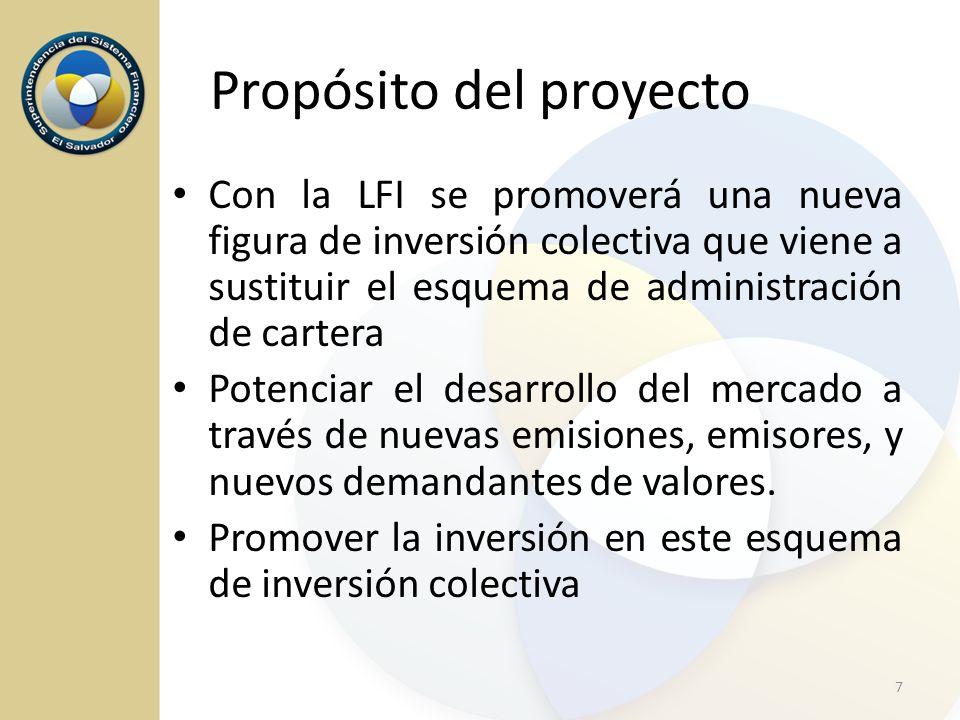 Propósito del proyecto Con la LFI se promoverá una nueva figura de inversión colectiva que viene a sustituir el esquema de administración de cartera P