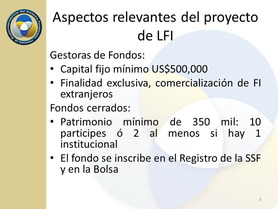 Gestoras de Fondos: Capital fijo mínimo US$500,000 Finalidad exclusiva, comercialización de FI extranjeros Fondos cerrados: Patrimonio mínimo de 350 m