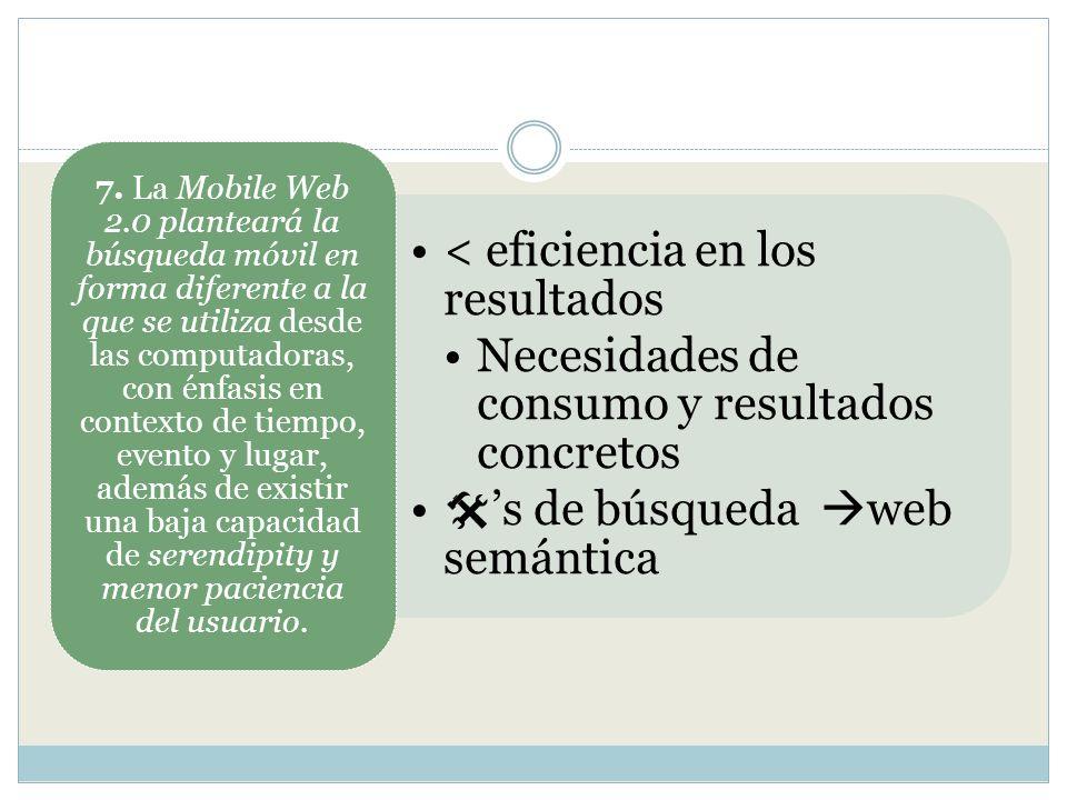 < eficiencia en los resultados Necesidades de consumo y resultados concretos s de búsqueda web semántica 7. La Mobile Web 2.0 planteará la búsqueda mó