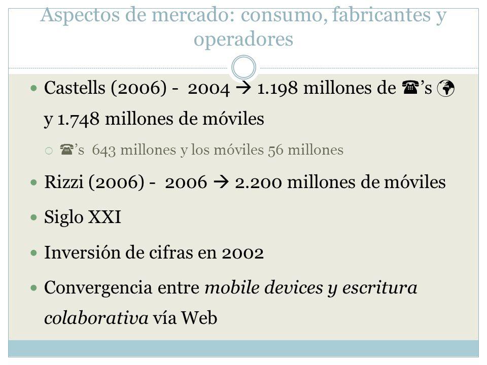 Aspectos de mercado: consumo, fabricantes y operadores Castells (2006) - 2004 1.198 millones de s y 1.748 millones de móviles s 643 millones y los móv