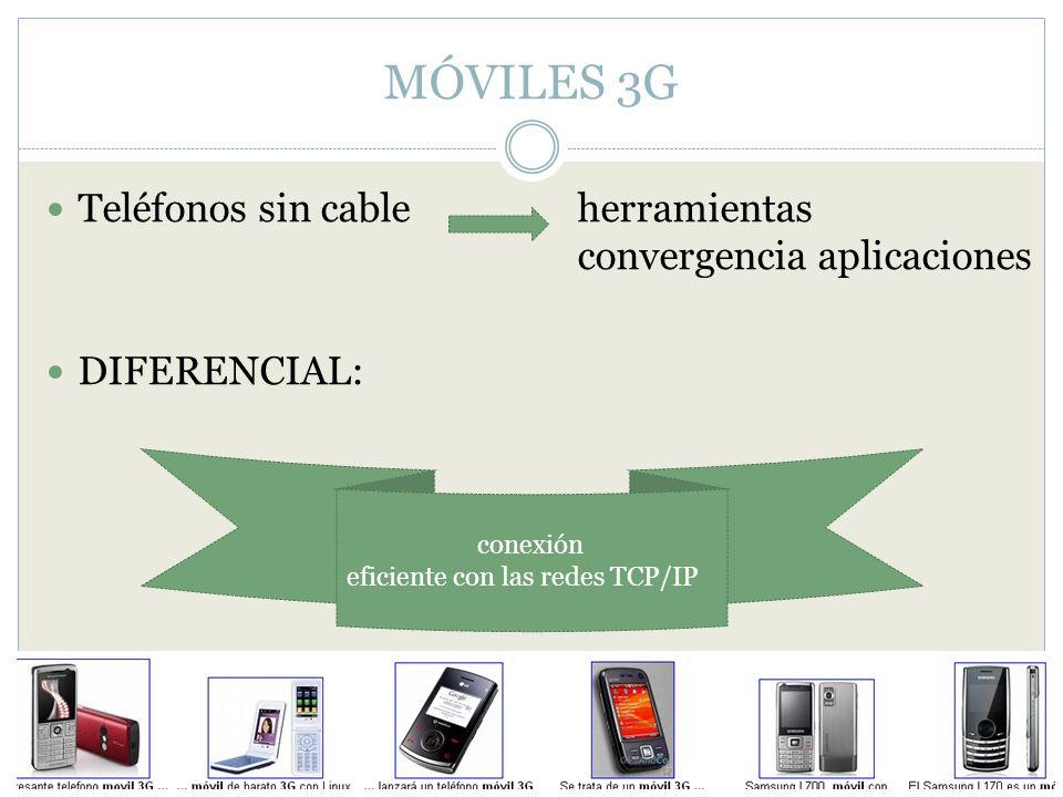 MÓVILES 3G Teléfonos sin cable herramientas convergencia aplicaciones DIFERENCIAL: conexión eficiente con las redes TCP/IP