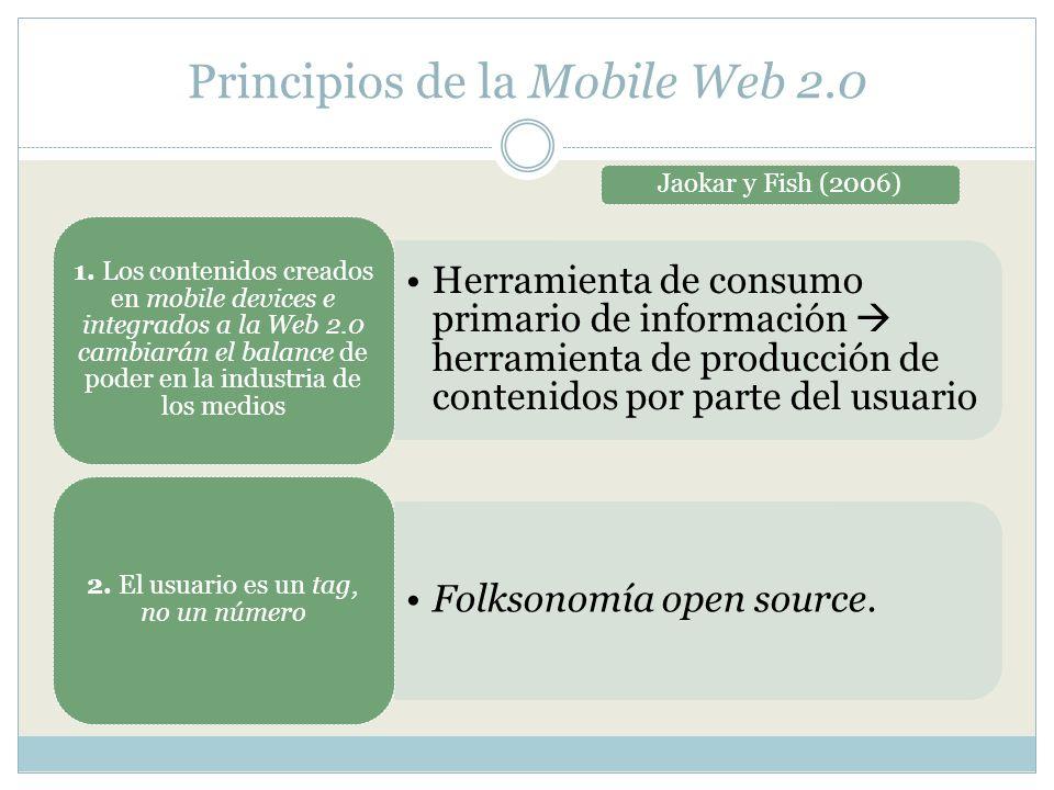 Principios de la Mobile Web 2.0 Jaokar y Fish (2006) Herramienta de consumo primario de información herramienta de producción de contenidos por parte