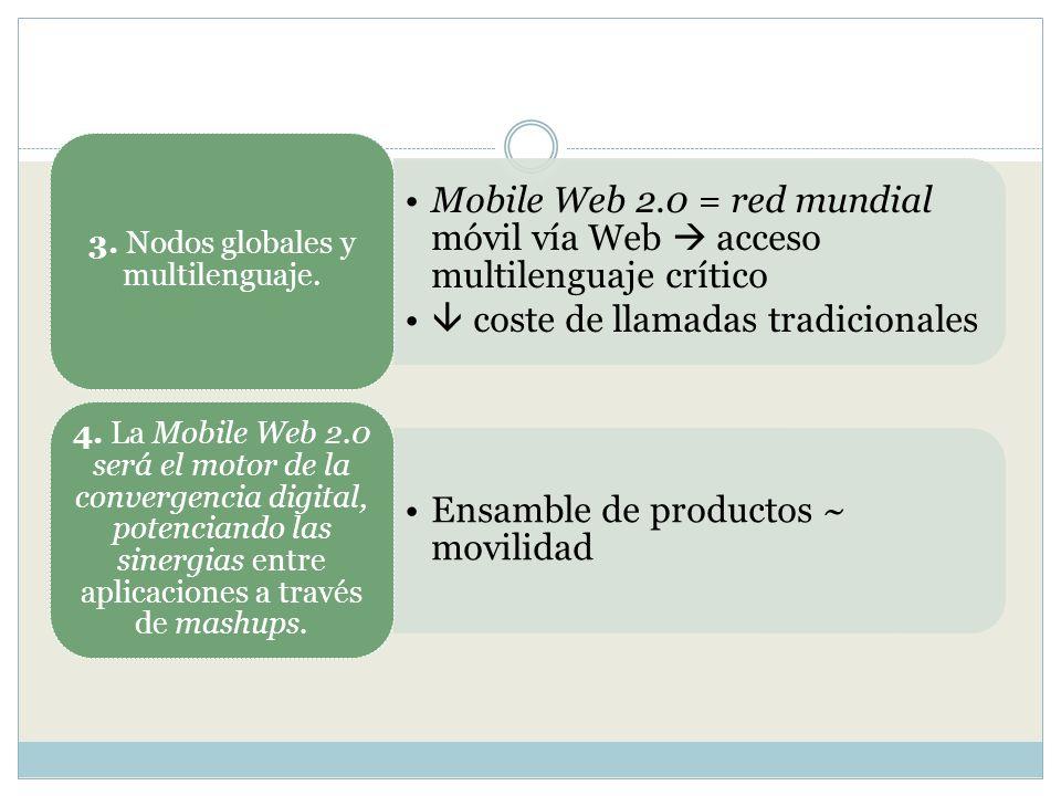 Mobile Web 2.0 = red mundial móvil vía Web acceso multilenguaje crítico coste de llamadas tradicionales 3. Nodos globales y multilenguaje. Ensamble de