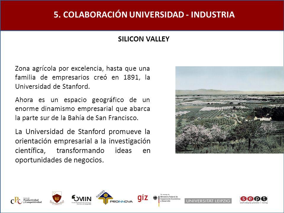 5. COLABORACIÓN UNIVERSIDAD - INDUSTRIA SILICON VALLEY Ahora es un espacio geográfico de un enorme dinamismo empresarial que abarca la parte sur de la
