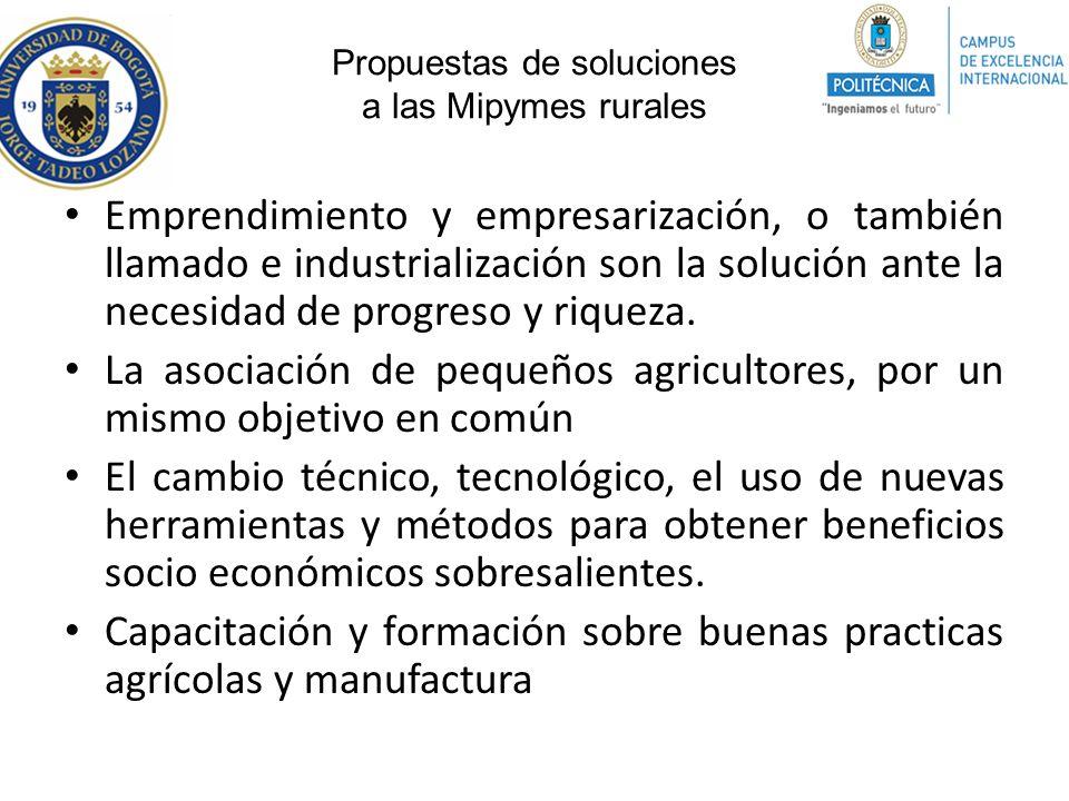 Propuestas de soluciones a las Mipymes rurales Emprendimiento y empresarización, o también llamado e industrialización son la solución ante la necesid