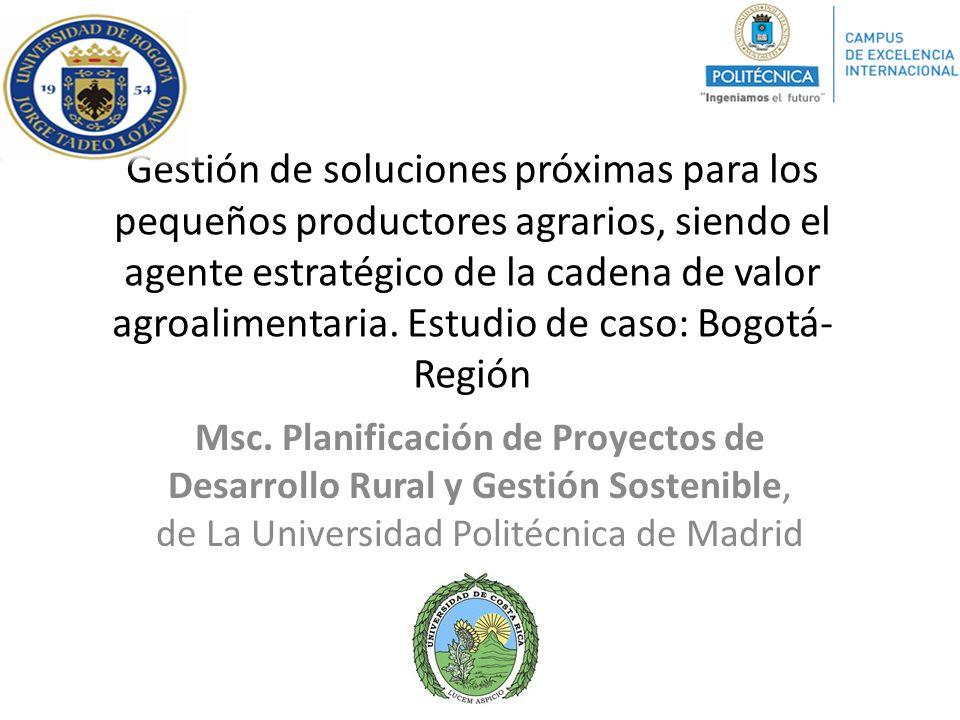 OE1: Consolidar el modelo de proveeduría organizada en las cadenas de valor de productos orgánicos y de hortalizas menores en las localidades de Usme y Ciudad Bolívar..