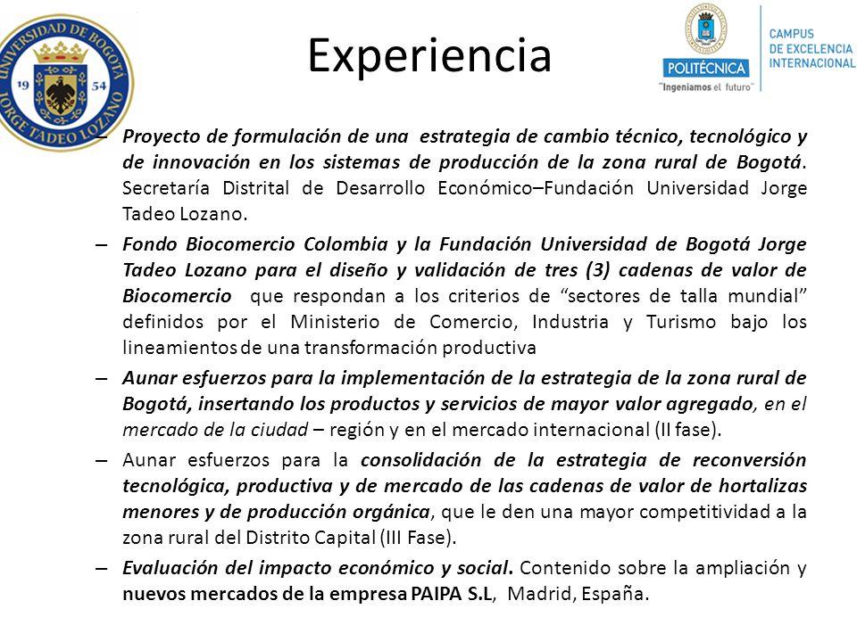 Experiencia – Proyecto de formulación de una estrategia de cambio técnico, tecnológico y de innovación en los sistemas de producción de la zona rural