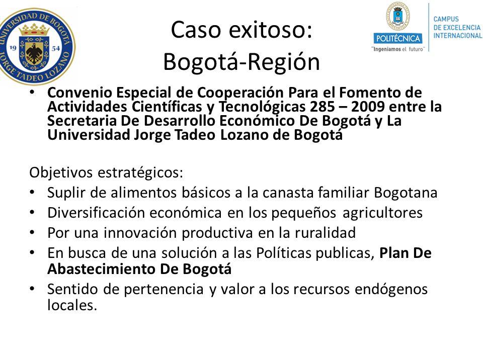 Caso exitoso: Bogotá-Región Convenio Especial de Cooperación Para el Fomento de Actividades Científicas y Tecnológicas 285 – 2009 entre la Secretaria