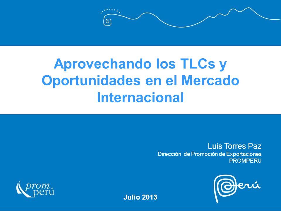 Aprovechando los TLCs y Oportunidades en el Mercado Internacional Julio 2013 Luis Torres Paz Dirección de Promoción de Exportaciones PROMPERU