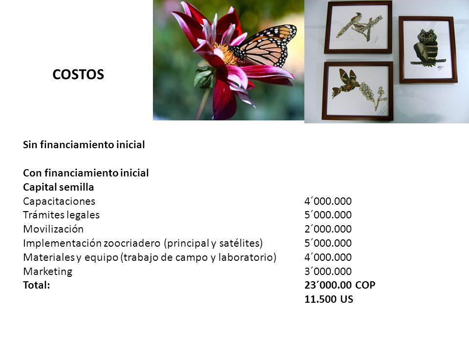 COSTOS Sin financiamiento inicial Con financiamiento inicial Capital semilla Capacitaciones4´000.000 Trámites legales5´000.000 Movilización2´000.000 I
