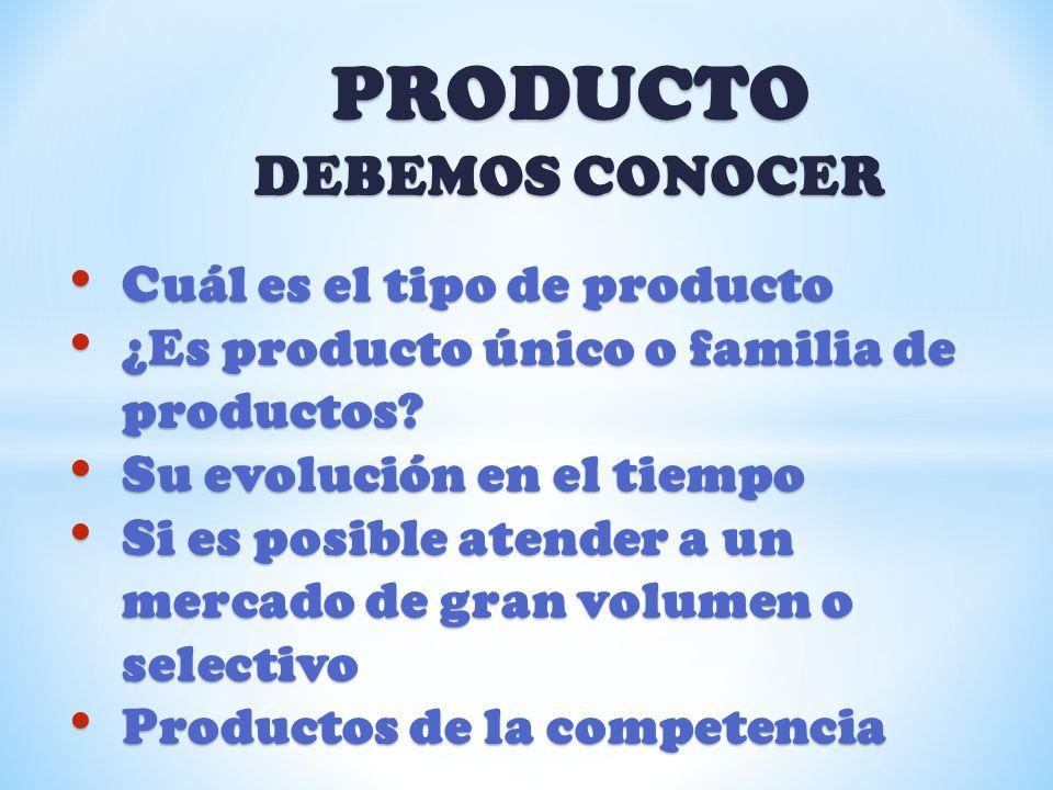 PRODUCTO DEBEMOS CONOCER Cuál es el tipo de producto Cuál es el tipo de producto ¿Es producto único o familia de productos? ¿Es producto único o famil