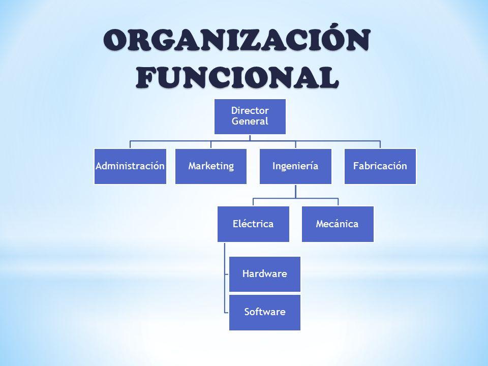 ORGANIZACIÓN FUNCIONAL Director General AdministraciónMarketingIngeniería Eléctrica Hardware Software Mecánica Fabricación