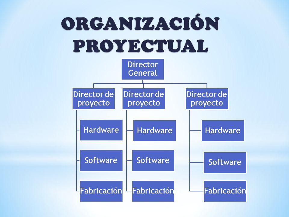 ORGANIZACIÓN PROYECTUAL Director General Director de proyecto Hardware Software Fabricación Director de proyecto Hardware Software Fabricación Directo