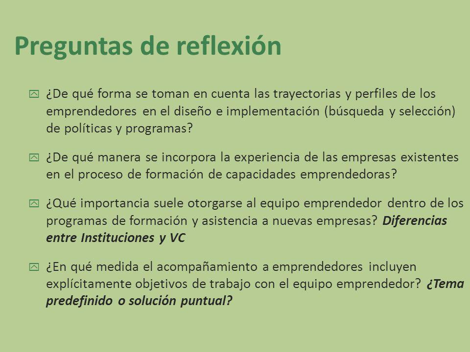 Preguntas de reflexión ¿De qué forma se toman en cuenta las trayectorias y perfiles de los emprendedores en el diseño e implementación (búsqueda y sel