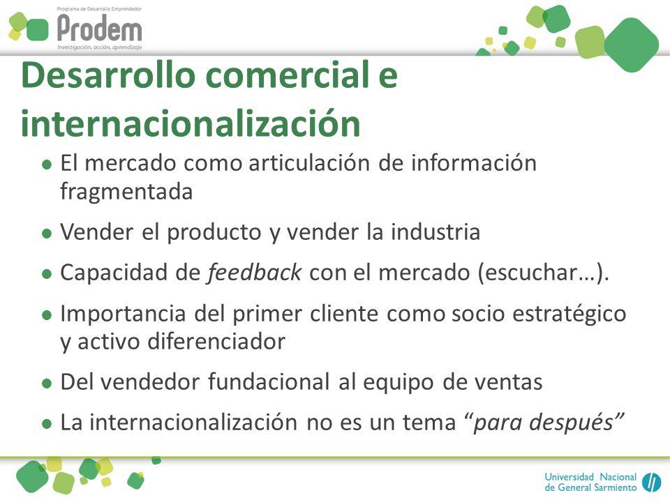 Desarrollo comercial e internacionalización El mercado como articulación de información fragmentada Vender el producto y vender la industria Capacidad