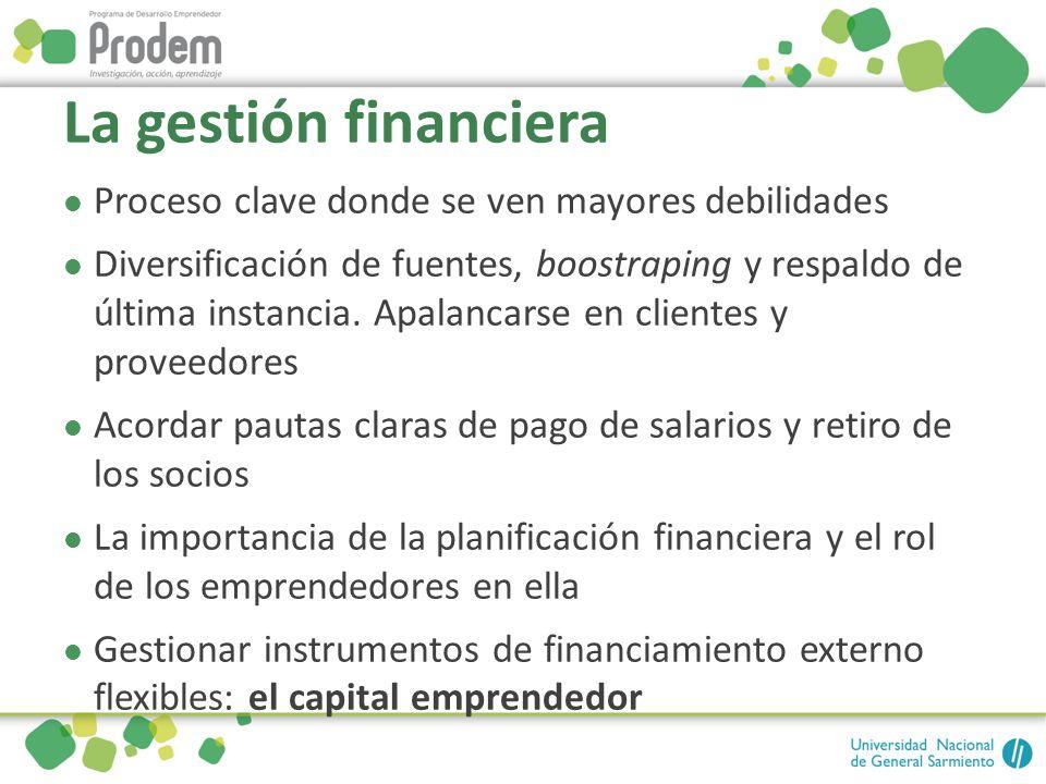 La gestión financiera Proceso clave donde se ven mayores debilidades Diversificación de fuentes, boostraping y respaldo de última instancia. Apalancar