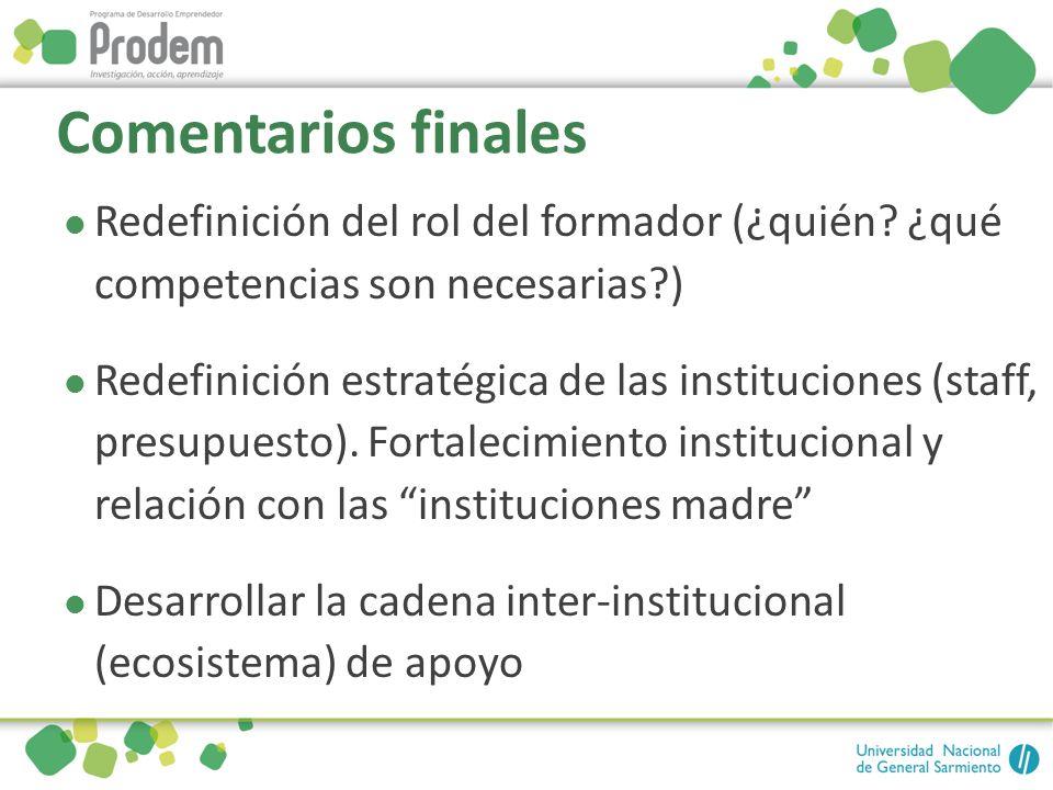 Comentarios finales Redefinición del rol del formador (¿quién? ¿qué competencias son necesarias?) Redefinición estratégica de las instituciones (staff