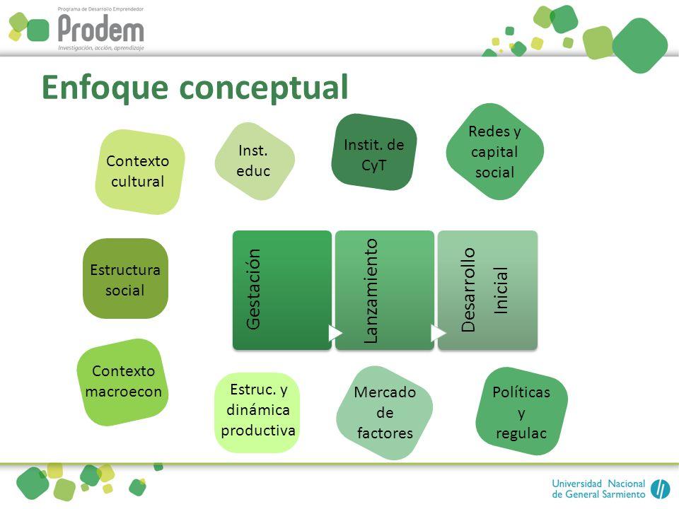 Enfoque conceptual Gestación Lanzamiento Desarrollo Inicial Contexto cultural Estructura social Contexto macroecon Redes y capital social Instit. de C