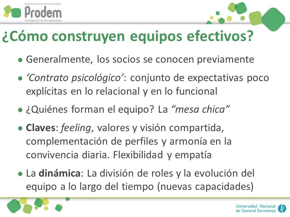 ¿Cómo construyen equipos efectivos? Generalmente, los socios se conocen previamente Contrato psicológico: conjunto de expectativas poco explícitas en
