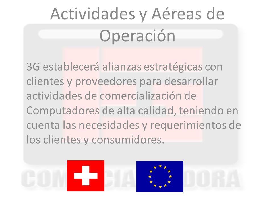 Actividades y Aéreas de Operación 3G establecerá alianzas estratégicas con clientes y proveedores para desarrollar actividades de comercialización de