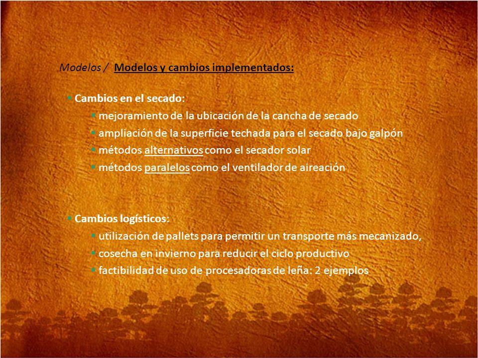 Modelos / Modelos y cambios implementados: Cambios logísticos: utilización de pallets para permitir un transporte más mecanizado, cosecha en invierno