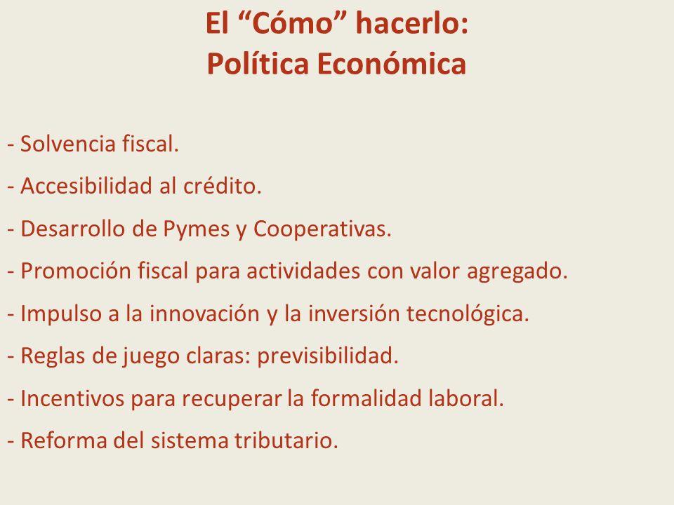 El Cómo hacerlo: Política Económica - Solvencia fiscal. - Accesibilidad al crédito. - Desarrollo de Pymes y Cooperativas. - Promoción fiscal para acti
