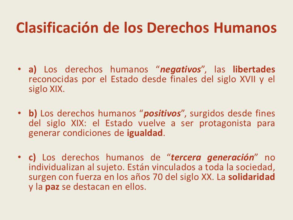 Clasificación de los Derechos Humanos a) Los derechos humanos negativos, las libertades reconocidas por el Estado desde finales del siglo XVII y el si