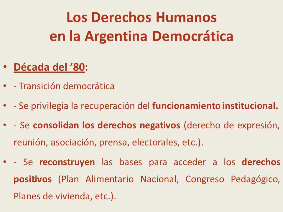 Los Derechos Humanos en la Argentina Democrática Década del 90: Mercado centrismo MERCADO Fortalecimiento delos DDHH Negativos + INDIVIDUO Debilitamiento de los DDHH positivos