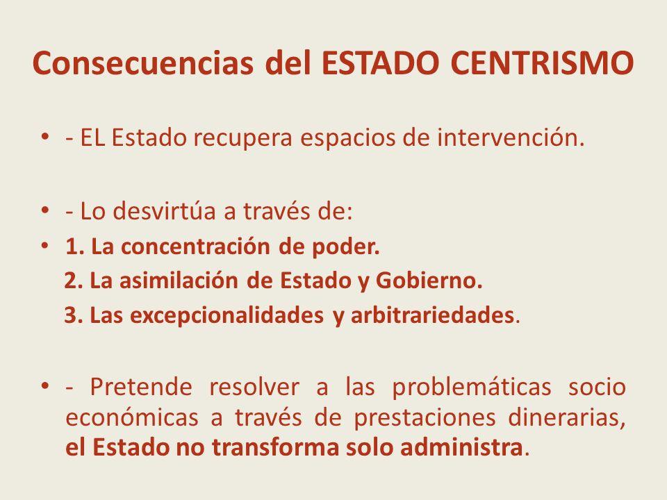 Consecuencias del ESTADO CENTRISMO - EL Estado recupera espacios de intervención. - Lo desvirtúa a través de: 1. La concentración de poder. 2. La asim