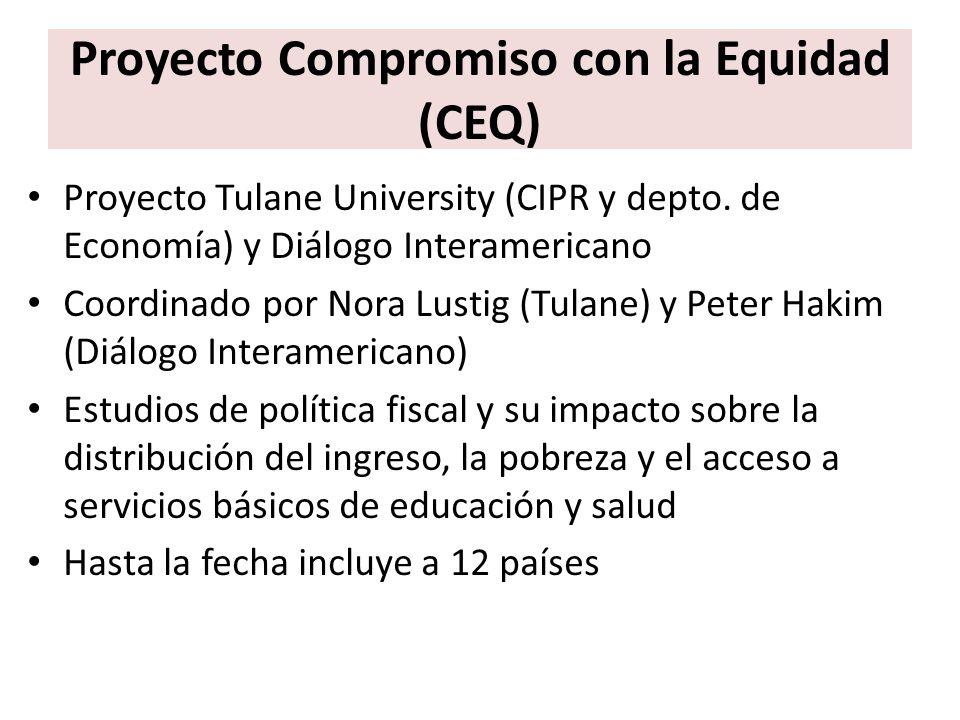 Proyecto Compromiso con la Equidad (CEQ) Proyecto Tulane University (CIPR y depto. de Economía) y Diálogo Interamericano Coordinado por Nora Lustig (T