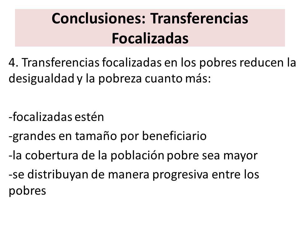 Conclusiones: Transferencias Focalizadas 4. Transferencias focalizadas en los pobres reducen la desigualdad y la pobreza cuanto más: -focalizadas esté