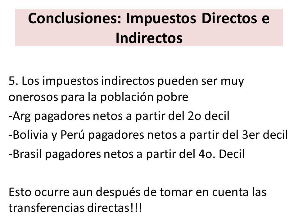 Conclusiones: Impuestos Directos e Indirectos 5. Los impuestos indirectos pueden ser muy onerosos para la población pobre -Arg pagadores netos a parti