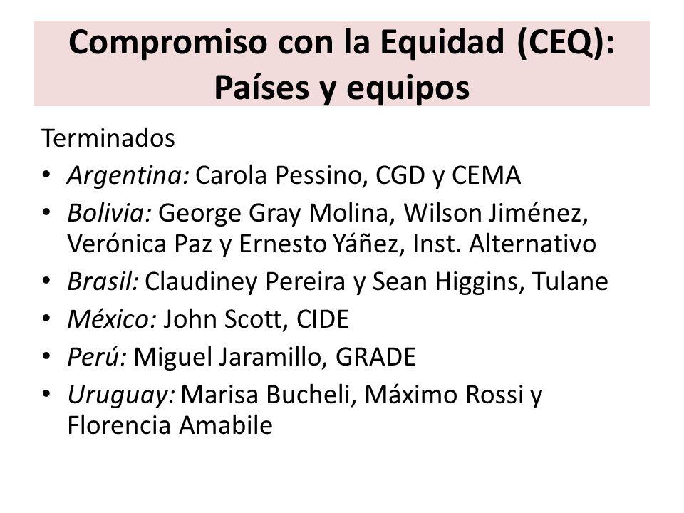 Compromiso con la Equidad (CEQ): Países y equipos Terminados Argentina: Carola Pessino, CGD y CEMA Bolivia: George Gray Molina, Wilson Jiménez, Veróni