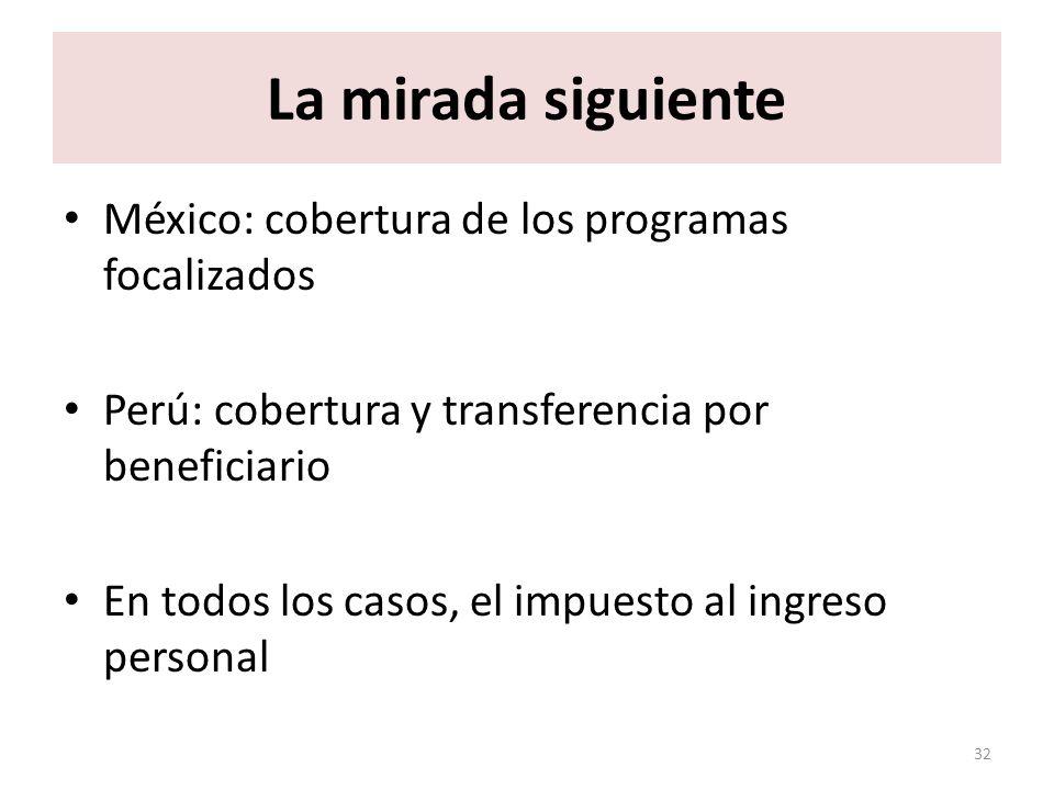 La mirada siguiente México: cobertura de los programas focalizados Perú: cobertura y transferencia por beneficiario En todos los casos, el impuesto al
