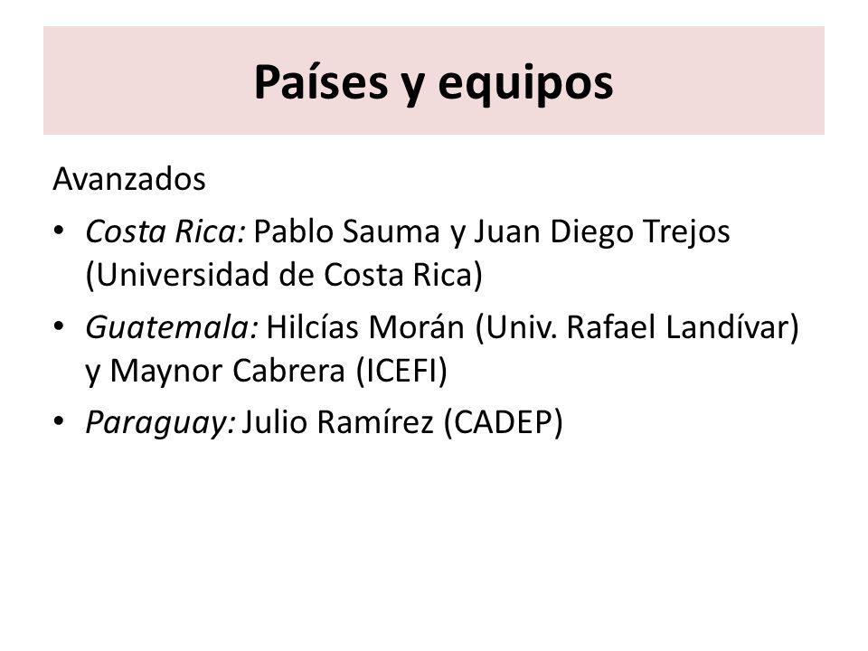 Países y equipos Avanzados Costa Rica: Pablo Sauma y Juan Diego Trejos (Universidad de Costa Rica) Guatemala: Hilcías Morán (Univ. Rafael Landívar) y