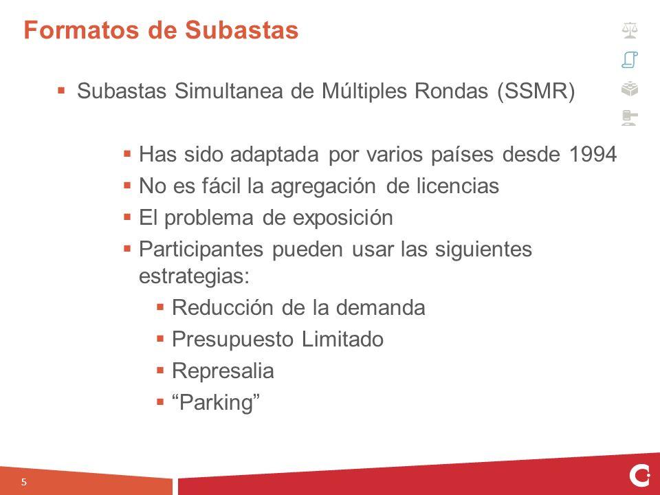 Subastas Simultanea de Múltiples Rondas (SSMR) Has sido adaptada por varios países desde 1994 No es fácil la agregación de licencias El problema de ex