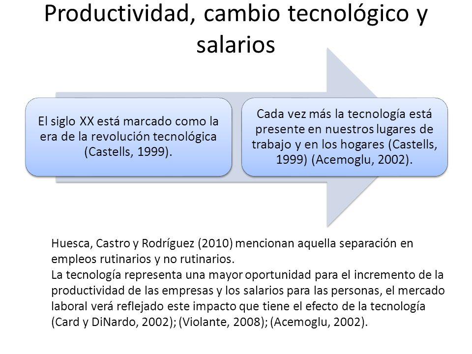 Productividad, cambio tecnológico y salarios El siglo XX está marcado como la era de la revolución tecnológica (Castells, 1999). Cada vez más la tecno