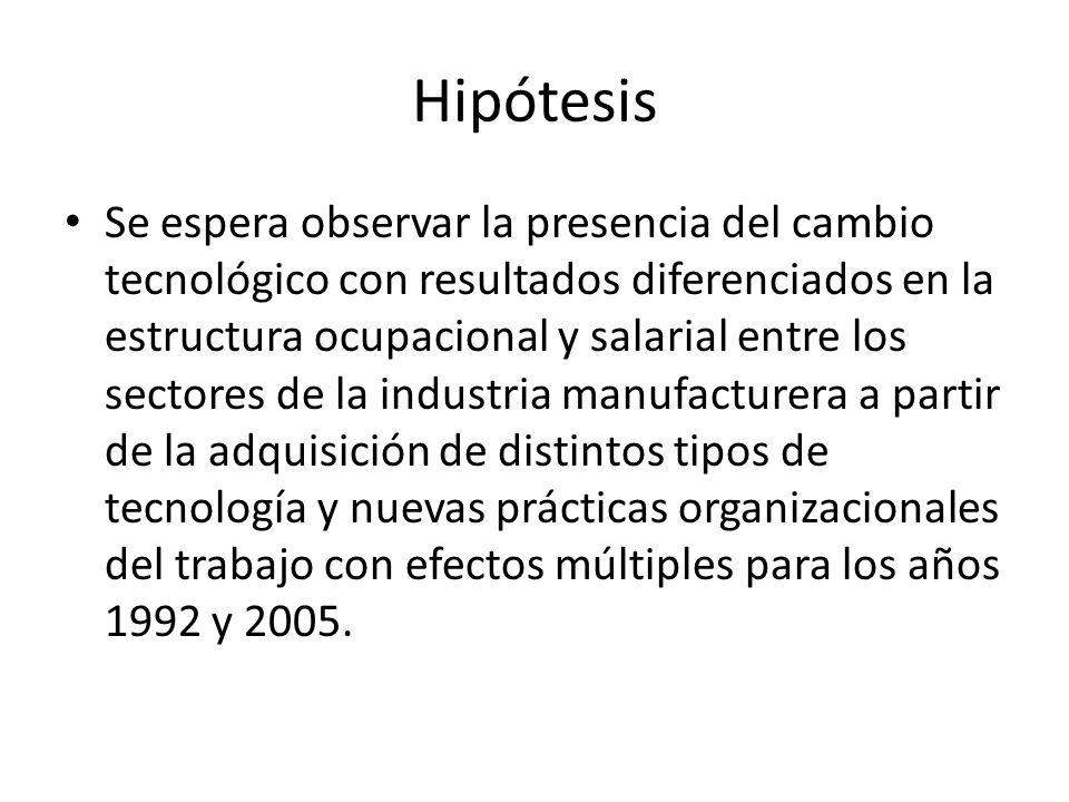 Hipótesis Se espera observar la presencia del cambio tecnológico con resultados diferenciados en la estructura ocupacional y salarial entre los sector