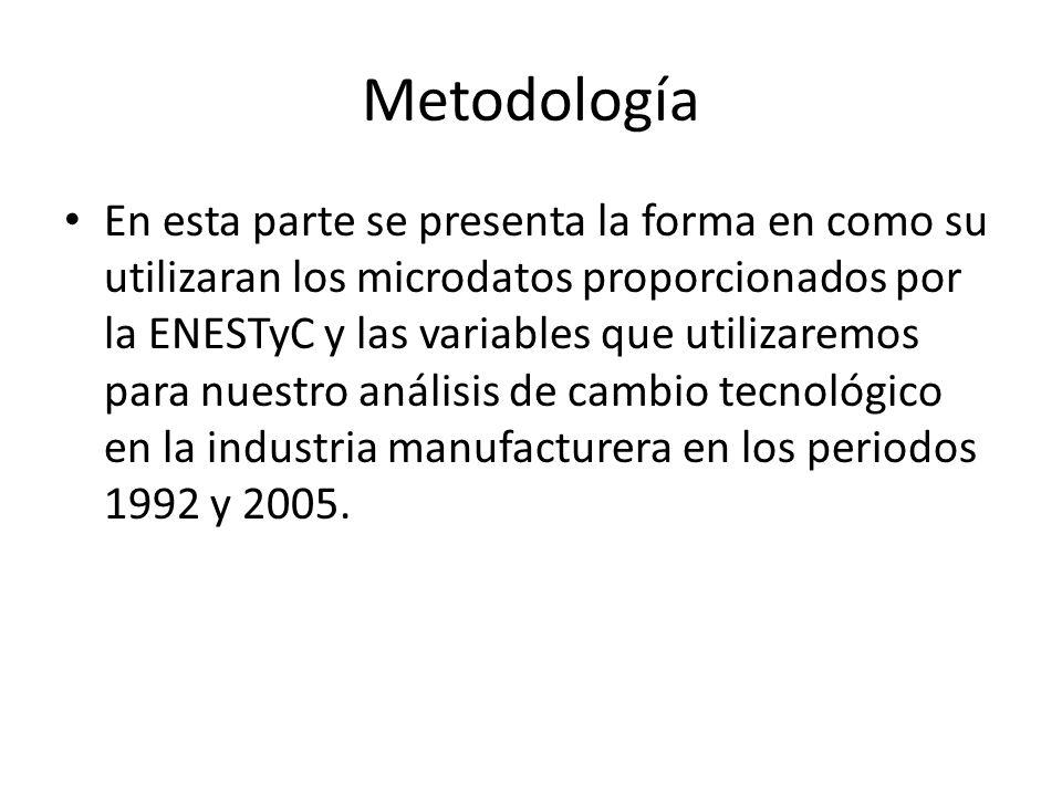 Metodología En esta parte se presenta la forma en como su utilizaran los microdatos proporcionados por la ENESTyC y las variables que utilizaremos par
