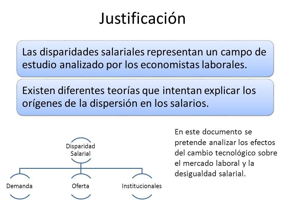 Justificación Las disparidades salariales representan un campo de estudio analizado por los economistas laborales. Existen diferentes teorías que inte