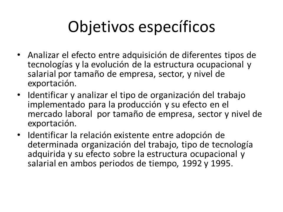 Objetivos específicos Analizar el efecto entre adquisición de diferentes tipos de tecnologías y la evolución de la estructura ocupacional y salarial p