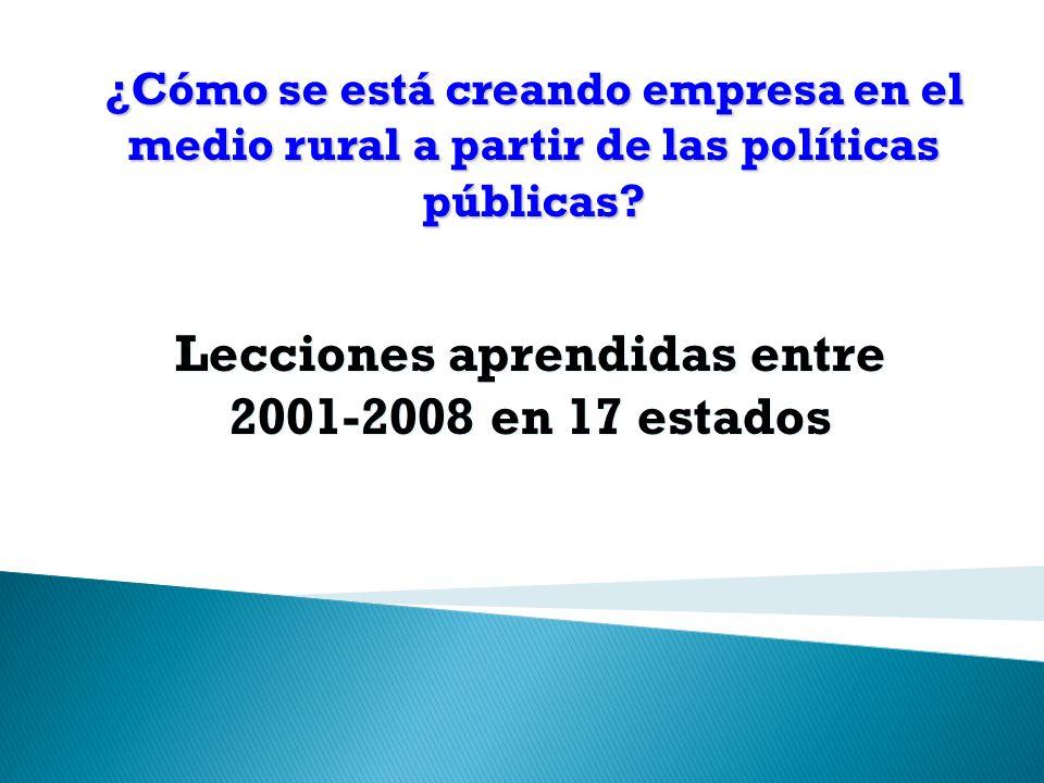 Lecciones aprendidas entre 2001-2008 en 17 estados ¿Cómo se está creando empresa en el medio rural a partir de las políticas públicas